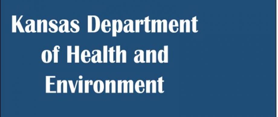 Blue background with the words Kansas Dept of Health and Environment