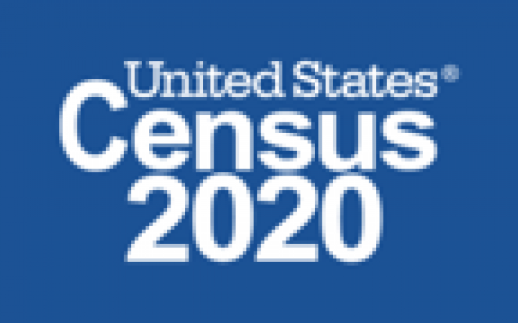 Blue background with United States Census 2020