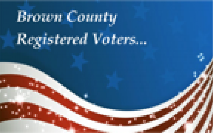 Blue box with red and white waves at bottom and the words Brown County Registered Voters at the top