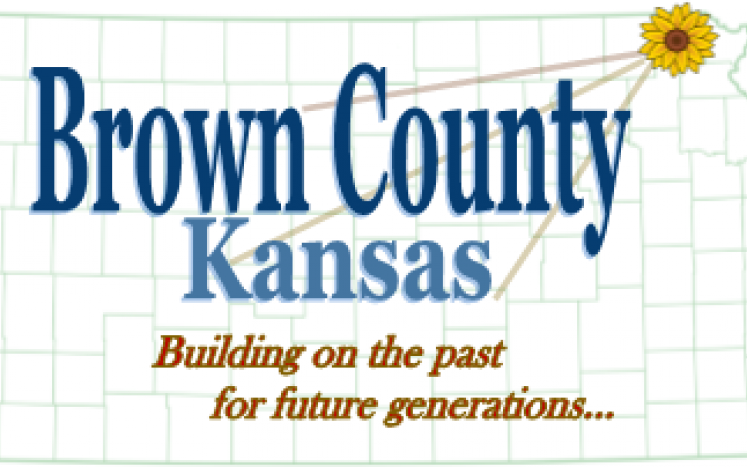 Kansas county map w/ a sunflower over Brown Co and lettering Brown County Kansas, building on the past for future generations