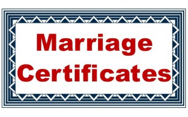 Oblong box with a fancy edge and the words Marriage Certificates in the center